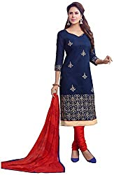 Airboyz Women's Art Silk Unstitched Dress Material (Blue)