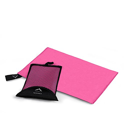 Microfiber Towel, Himal Travel&Sports Yoga Towel Running Fitness Beach Towels/Gym Towels Fast Drying Ultra Compact Absorbent [Unique Antibacterial Tech] (Pink)