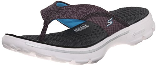 Skechers Performance Womens Go Walk Pizazz Flip Flop, Black/Multi/White, 8 M US
