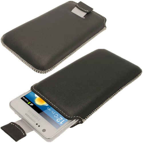 Igadgitz Black Luxury Genuine Leather Pouch Case Cover For Samsung Galaxy S2 I9100 Android Smartphone Cell Phone. Suitable For At & T Model Only (Model Number Sgh-I777).