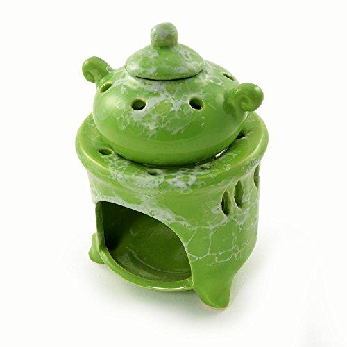 Diseño de lámpara de fragancia, aroma de las bombillas con forma de jarra, aroma lámpara de mesa de cerámica, 3 teilig, aroma quemador de, para aceites esenciales, colour verde - de la marca de ganzoo