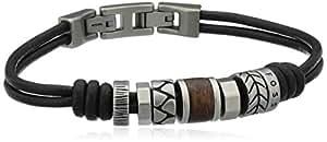 Fossil - JF84196040 - Bracelet - Homme - Double Lien Cuir Noir - Motifs Acier - Acier
