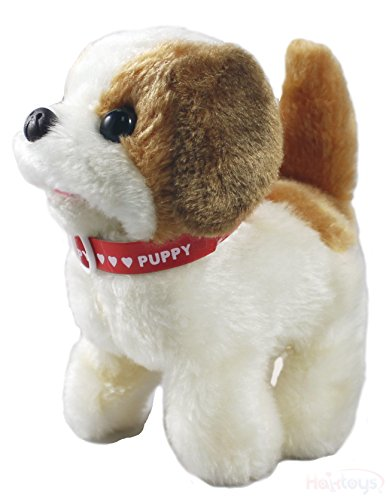 Haktoys Toy Puppy - Battery Operated Walking Barking & Tail Wagging Plush Dog - Colors May Vary