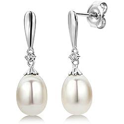 Miore Damen-Ohrhänger 375 Weißgold 2 Brillanten 0,02ct farblos 2 Perlen Weiß 22 mm MG9004E