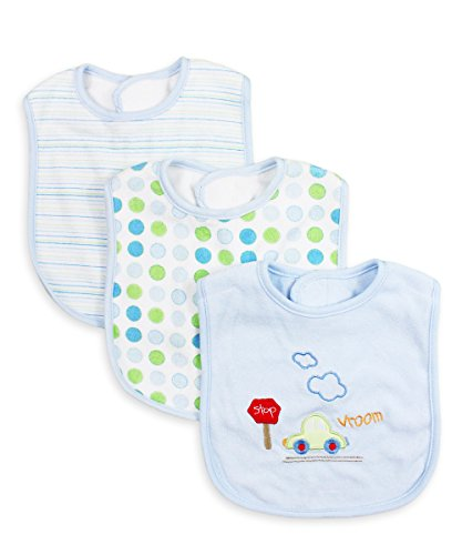 Spasilk Unisex-Baby Newborn 3 Pack Cotton Terry Feeder Bibs, Blue Car, O/S