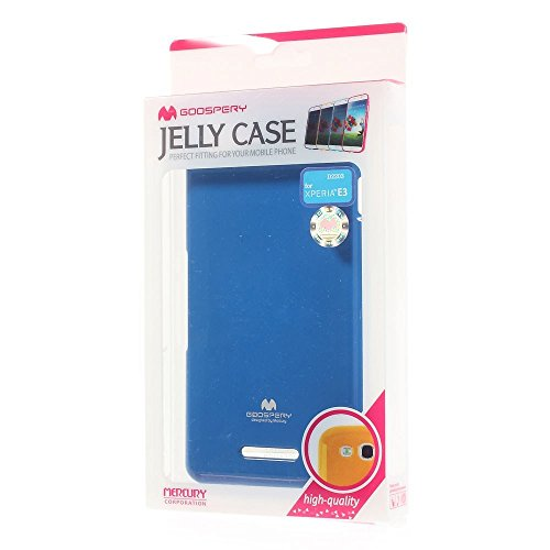 JUJEO Jelly Case Glitter Powder TPU Skin Cover for Sony Xperia E3 D2206/E3 Dual D2212 - Non-Retail Packaging - Blue