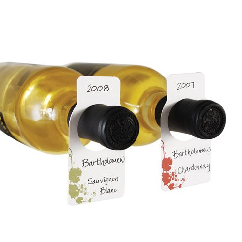 True Fabrications Paper, Blank, Wine Cellar Tags With Pen To Easily Identify Wine - Set Of 50, Square front-289504
