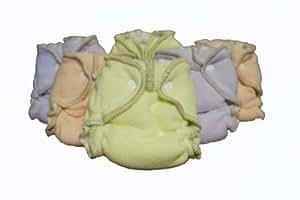 Kissa's 6 Count Fleece Diapers, Pink, Purple, Yellow, Medium/Large