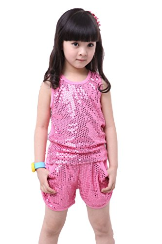 Solilor Girls Sequin Dance Costumes Fashion Shiny Tops with Shorts