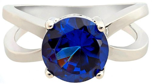 Solitaire Round Cut Blue Sapphire Engagement Ring, 14k White Gold Filled Band