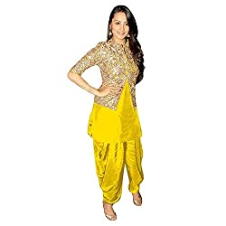 khazanakart fashion women exclusive & designer yellow cotton latest bollywood & party wear dress materials