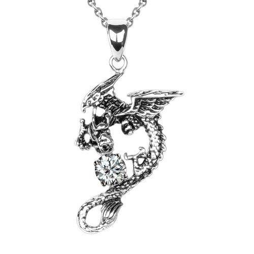 Merdia 316L Titanium Stainless Steel Man's Flying Dragon Pedant Necklace 20″ (White Zircon)
