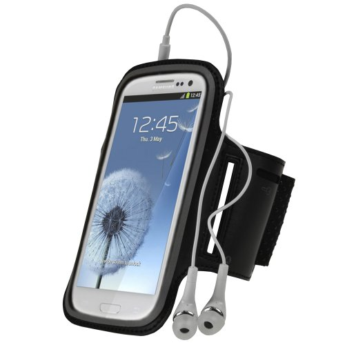 Igadgitz Black Reflective Anti-Slip Neoprene Sports Gym Jogging Armband For Samsung Galaxy S3 Iii I9300 Android Smartphone Cell Phone (Compatible With All Carriers Incl At&T, Sprint Nextel, T-Mobile & Verizon Wireless)
