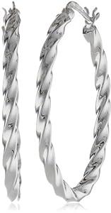 """Sterling Silver Twisted Oval Hoop Earrings (1.0"""" Diameter)"""