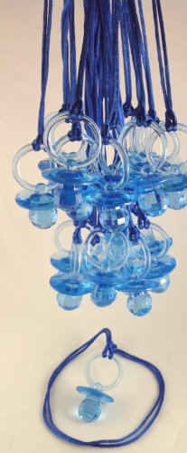 "12 Pcs 2-1/2"" Blue Fancy Plastic Pacifier Necklaces ""Don'T Say Baby!"" For Baby Shower Party Game/ Favors front-163750"