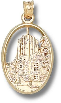 Michigan Wolverines Union Building Pendant - 14KT Gold Jewelry by Logo Art