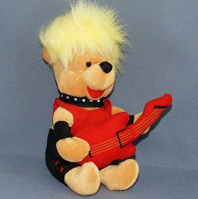 "Disney HARD ROCK 80's POOH w/Guitar Plush Bean Bag 8"" - 1"