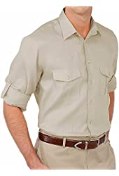 Paul Fredrick Men's 100% Linen Straight Collar Sport Shirt