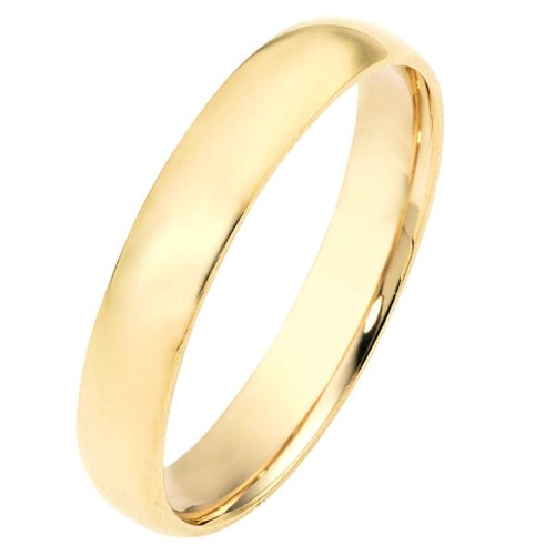 10K Yellow Gold, Light Half Round Wedding Band 4MM (sz 9.5)