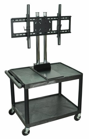 H.Wilson Mobile Rolling Multimedia Tv Cart Trolley With Universal Lcd Flat Panel Mount Black