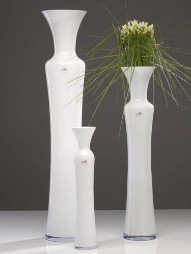 Glasvase SILHOUETTE Glas Vase Tischvase Blumenvase, Milchglas, weiß, 40 cm