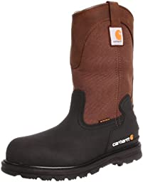 Carhartt Men\'s CMP1259 11 Mud Well ST Work Boot,Brown/Black Leather,9.5 W US