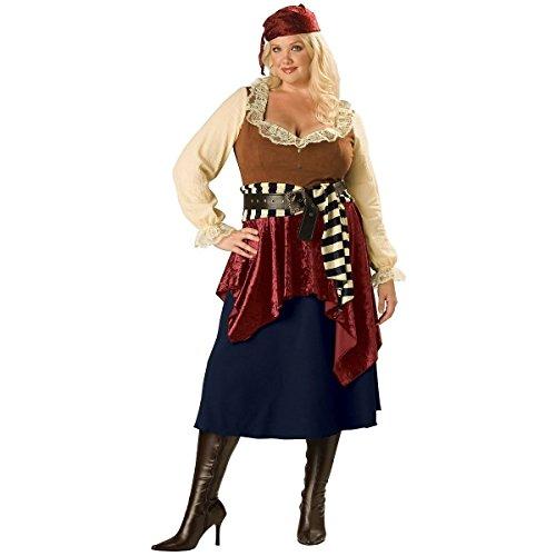 GSG Womens Pirate Costume Adult Wench Female Halloween Fancy Dress (Plus Size Female Superhero Costumes)