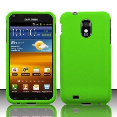Samsung Epic Touch 4G D710 & Galaxy S2 Sprint Rubberized Neon Green HARD PROTECTOR COVER CASE SNAP ON PERFECT FIT
