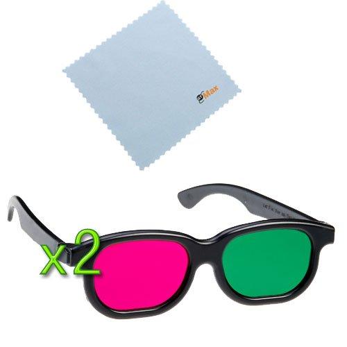 GTMax 2pcs 3D MAGENTA/GREEN (Basic Square ) Glasses
