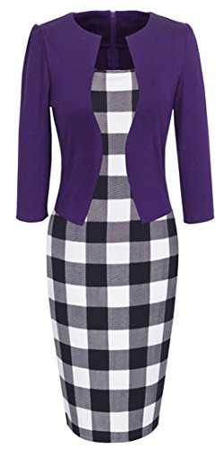 Homeyee Women's Vintage Colorblock Business Pencil Dress B237 (5XL, Purple Grid) (Sims 3 Clothes compare prices)