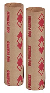 PM Company SecurIT $.50/PENNY Pre-Crimped Tubular Coin Wrappers, 3.5 Inches Length, Brown/Red, 1000/Carton (65029)