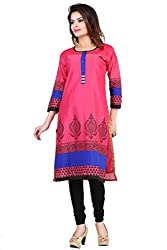 Feather Touch Women's Cotton Silk Kurti (FT2697RN1_Pink_38)