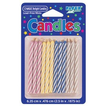 Paper Art Magic Relight Candles Multi Spiral Decorations Party Celebration 12 Ct - 1