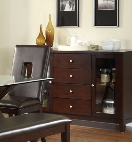 Cheap Server Sideboard with Glass Door in Espresso Finish (VF_F6060)