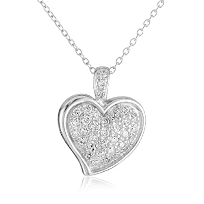 "Sterling Silver Simulated Diamond Pave Heart Pendant, 18"": Jewelry"