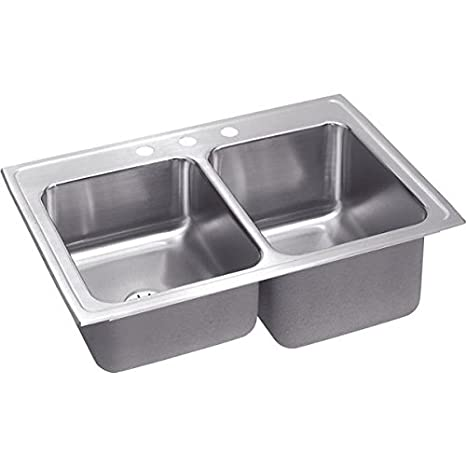 Elkay STLR3322RPDMR2 18 Gauge Stainless Steel Double Bowl Top Mount Kitchen Sink, 33 x 22 x 10.125""