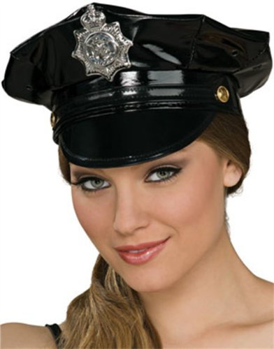 Deluxe Adult Sexy Black Vinyl Police Hat with Badge