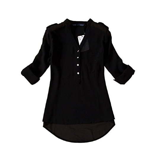 Minetom Donna Lunga Camicetta Tunique V-Collo Chiffon T-Shirt Top Ol Shirt ( Nero EU S )