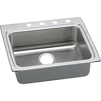 Elkao|#Elkay LRADQ2522451 18 Gauge Stainless Steel 25 Inch x 22 Inch x 4.5 Inch single Bowl Top Mount Kitchen Sink, 1 Faucet Hole,