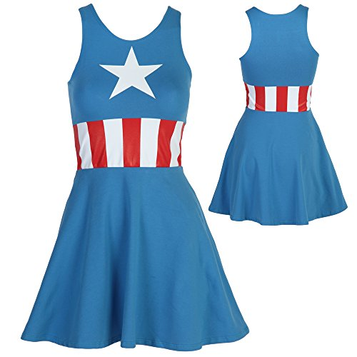 Captain America Sleeveless Skater Dress (Large)