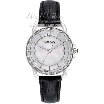 Bulova Diamond Black Leather Ladies Watch - 96R147