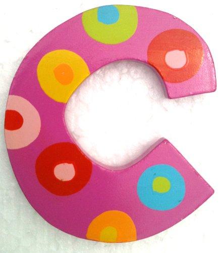 Imagen de TATIRI brillantes rayas multicoloras del alfabeto de letras de madera y DOTS (2 1/2 pulgadas de alto) (PUNTEADO Letra C)