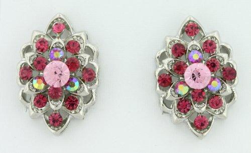 Aurora Borealis (AB) Fuchsia and Light Rose Pink Austrian Crystals Clip-On Earrings