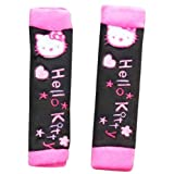 Hello Kitty Embroid Hello Kitty Embroid Car Safety Soft Comfortable Seat Belt Shoulder Sleeve Protector Pad Cover (Black)