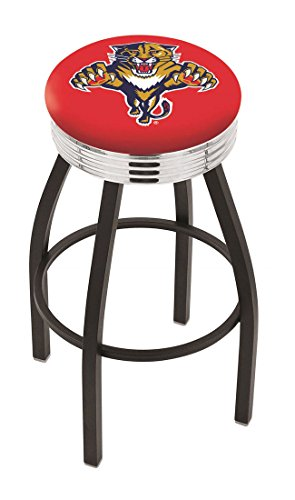 """25"""""""" L8B3C - Black Wrinkle Florida Panthers Swivel Bar Stool with Chrome 2.5"""""""" Ribbed Accent Ring-By BlueTECH"""