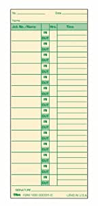 TOPS Job Cards, Green Ink Front and Back, 500-Count, 3.5 x 8.5 Inches, Manila (1290)
