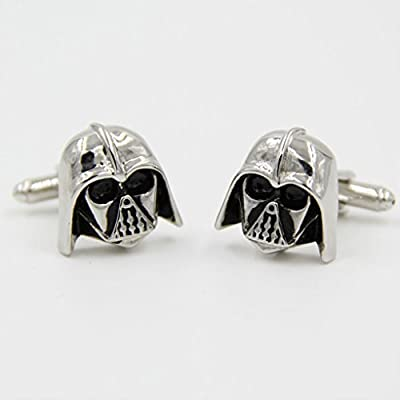HHBuy Cufflinks For Men Or Women Designs Black Silver Darth Vader Mask Helmet Dark Lord Sith Star Wars Wedding Groom Men Cuff Links Business Silver Cufflinks For Mens