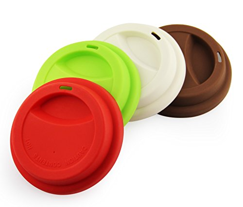 Yilove Silicone Cup Lids, Spill-Proof, Anti Dust, Reusable Coffee Mug Lids, 4 Pack-Red Green White Coffee (Coffee Cup With Lid Reusable 16oz compare prices)