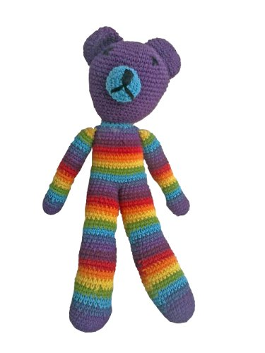 Hand made knitted Teddy Bear in Rainbow Colors One Size