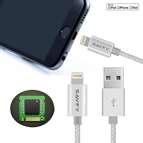 [MFI certifié Apple] SAVFY® - Câble Lightning vers USB Certifié Apple Blindé/Tressé - GARANTIE À VIE - Pour iPhone 6S / 6S Plus / 6 /6 Plus / 5 / 5C / 5S, iPad Air, iPad mini, iPod nano 7e génération, iPod Touch 5ème génération - Doré - 3.3 f